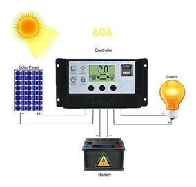 Controlador De Carga Solar 60 Amperes 12/24 Automatico