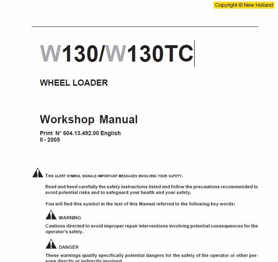 Manual De Serviço - New Holland - W130 - W130tc