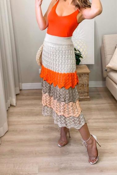 Linda Saia Em Tricot Crochê Camadas! Vermelha Com Bege