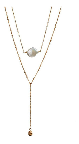 Luckyly Collares Largos Mujer Modernos Goldie, Perla Y Oro