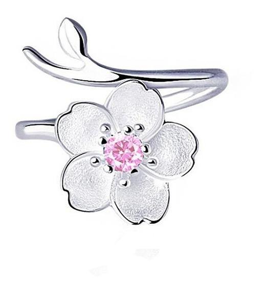 Precioso Anillo Real Plata 925 De Ley Flor Sakura Cristal
