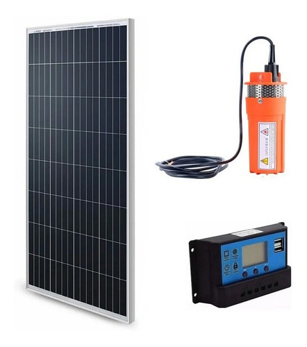 Imagen 1 de 7 de Bomba De Agua Sumergible 12 Voltios Dc + Panel Solar 100w