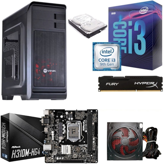 Pc Hunter I3 9100f H310m Hg4 Hyperx Hx 8gb Bc500 Hd 1tb