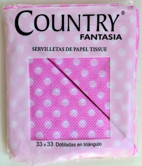 Servilletas Lunares Rosa Cotillon Cumpleaños