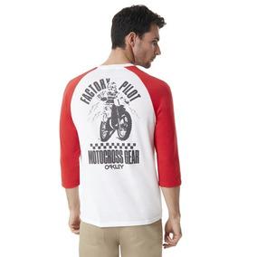 Oakley Motocross Gear Playera 3/4 Rojo / Blanco Solo Mediana