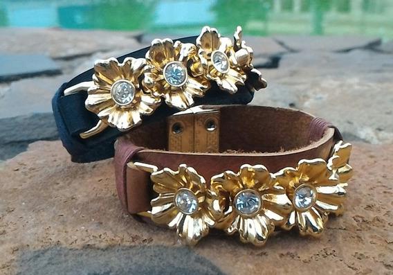 Pulseiras Femininas De Couro Fecho Imã Peça Dourada Flores