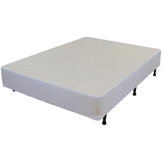 Base Cama Box Casal Luckspuma 138x188x30 Pés Madeira Branco