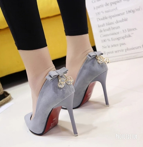 Sapato Feminino Importado Salto Alto Laço Pingente