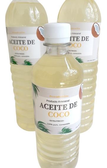 Aceite De Coco Extra Virgen Comestible Litro Y Medio Litro