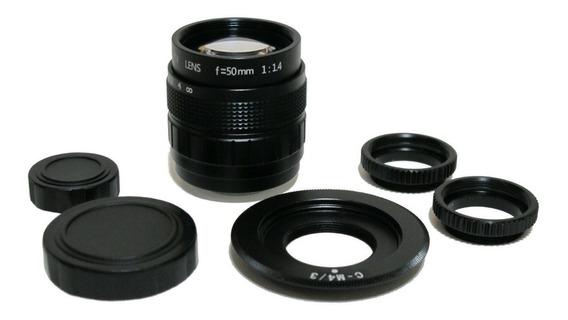 Lente Cctv 50mm + C-mount P/ M43, Bmpcc ( Leia O Anúncio )