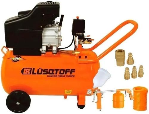 Imagen 1 de 10 de Compresor De Aire 2,5 Hp 50 Litro Lusqtoff +kit 3pzas+acople