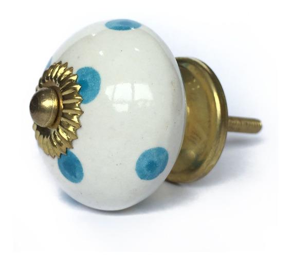 Puxador Porcelana Bolinha Azul Branco Prata Para Móveis