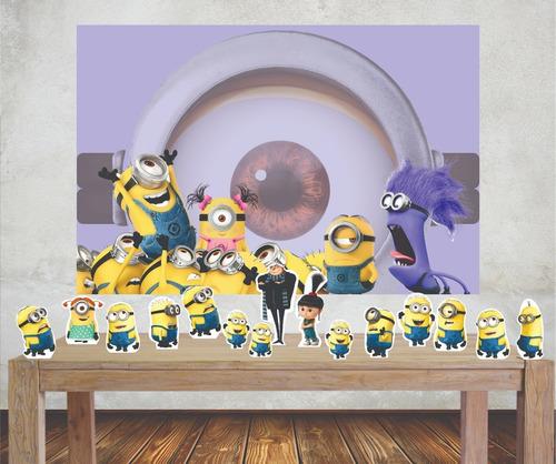 Imagem 1 de 5 de Kit Painel Poli Banner + Displays Festa Minions