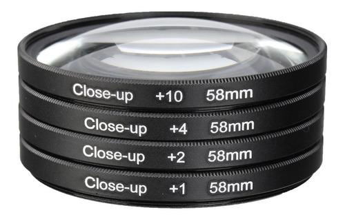 Camera 58mm Macro Close Up Lente Filtro Kit +1 +2 +4 +10 Par