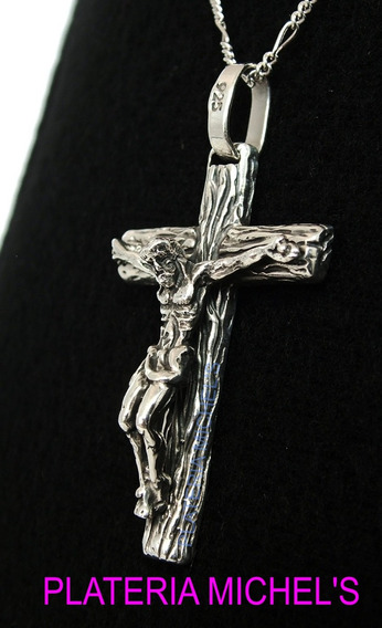 Cristo De Madera En Plata Ley 0.925
