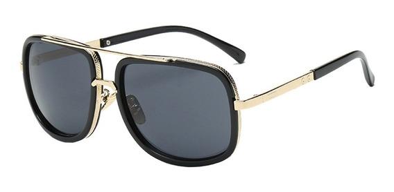 Óculos De Sol Masculino Quadrado Preto Retro Vintage
