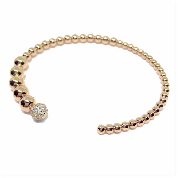 Bracelete Prata 925 Banho Ouro Rosé Bolinhas