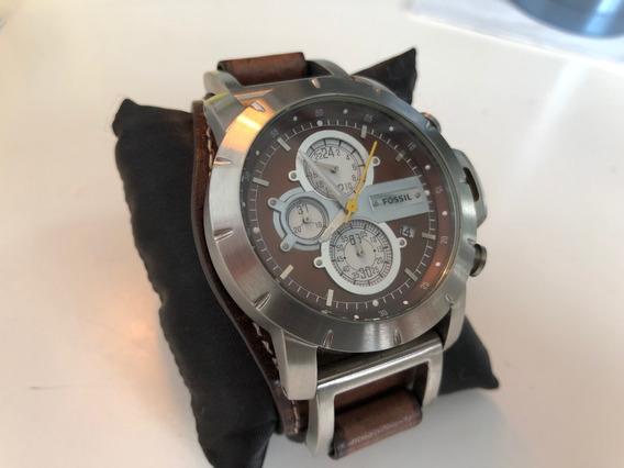 Relógio Fossil Masculino Jr1157 Couro Marrom Novo Original