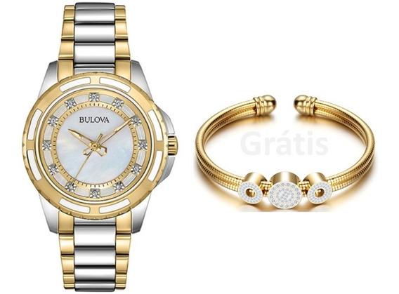 Relógio Bulova 98p140 Dial Perola, Banho Ouro. 12 Diamantes.