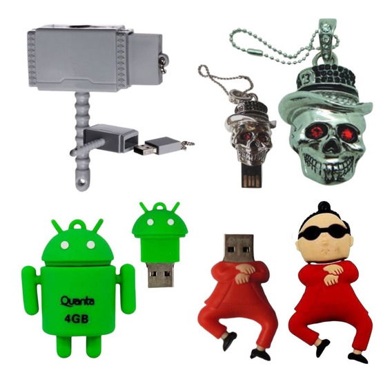 Kit 4 Pen Drive 4gb Personalizado Caveira Thor Android Style