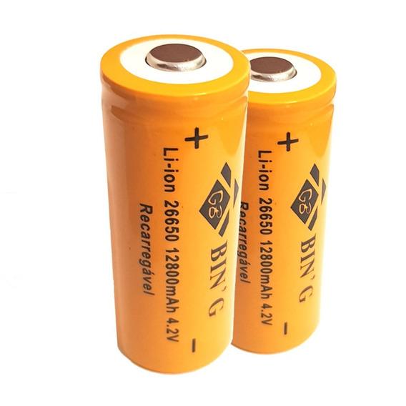 Kit 2 Bateria 26650 4,2v 12800mah Recarregável Lanterna X900