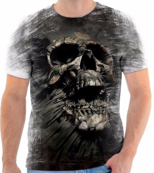 Camisa Camiseta Blusa Caveira Skull 3d Crânio Tattoo Ghost