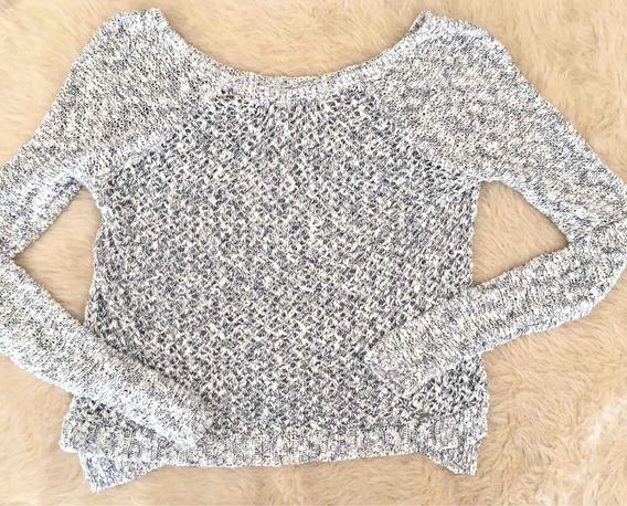 Sweater Azul Y Blanco Abercrombie Mujer Hilo Cuello Bote