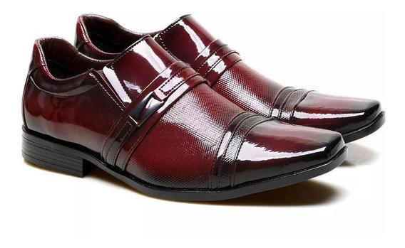 Sapato Social Masculino Versales Couro Verniz Com Textura