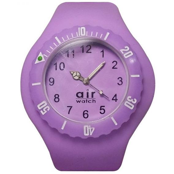 Relógio Pulso Air Watch Pulseira De Silicone Roxa M2