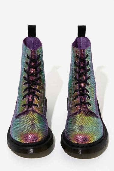 Dr Martens Pascal Violet Iridescent Snake Skin Boots