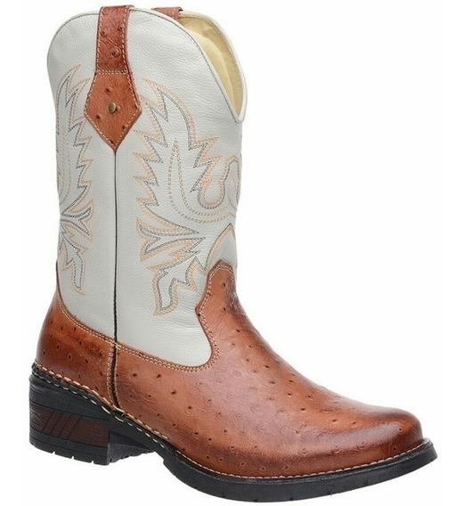 Bota Country Texana Masculina Bico Redondo