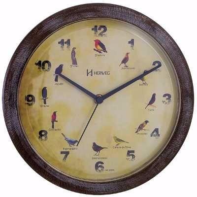 Kit Relógio Parede Canto De Pássaros + 9 Apitos Aves Silvest