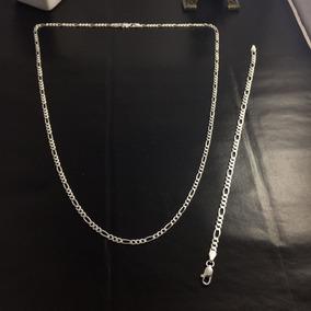 Conj. Corrente/pulseira Prata Maciça 925 Masculina 60cm 20cm