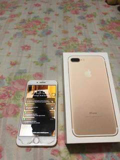 iPhone 7 Plus Dourado + Capinha Colorida