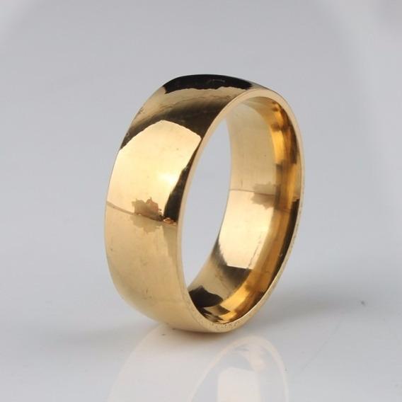 Aliança De Compromisso De Noivado Casamento Cor De Ouro