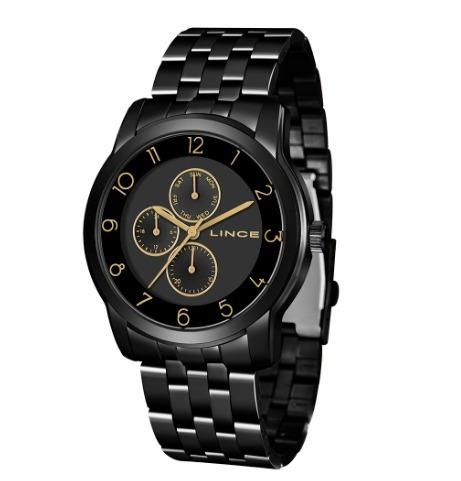 Relógio Lince Lmn4589l P2px Analógio Preto Original + Brinde