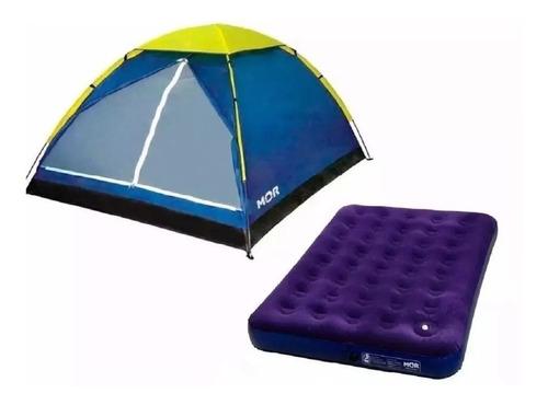 Barraca Camping Luna 4 Pessoas + Colchão Casal Com Inflador