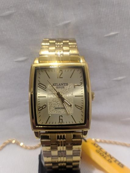 Relógio Atlantis Dourado Masculino + Brinde