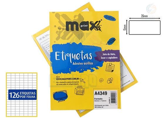 Caixa De Etiquetas A4349 Com 200 Folhas 126 Etiq/folha Maxp