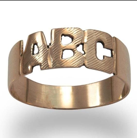 Anel Abc Em Ouro 18k. 750