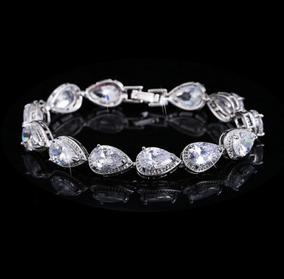 Pulseira Bracelete Prata Com Zircônia Noiva Debutante Gota