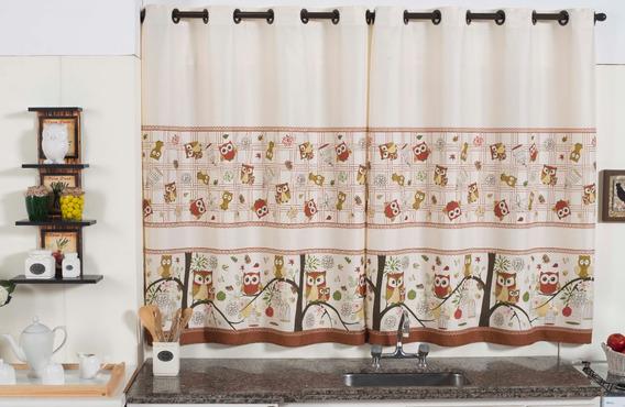 Cortina Cozinha Coruja E 1 Toalha De Mesa 6 Cadeiras