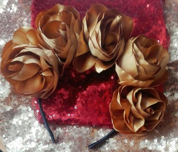 Diadema De Catrina Flores Doradas