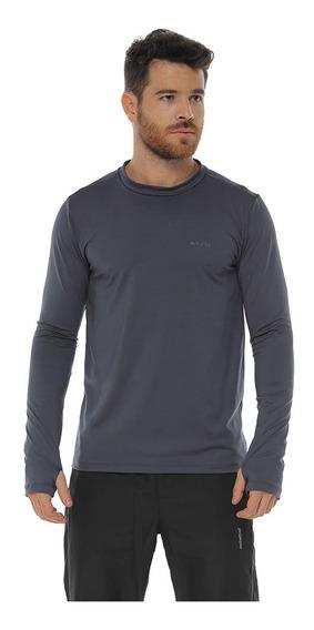 Camiseta Deportiva Protección Uv, Color Gris Oscuro Para Hom