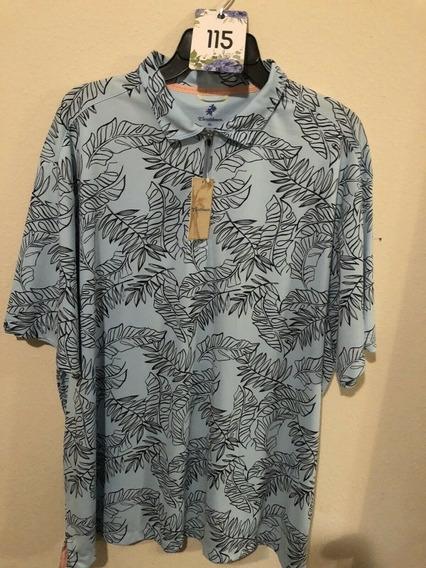 Playera Hawaiana Polo Caribbean Azul De Hombre Talla Xl