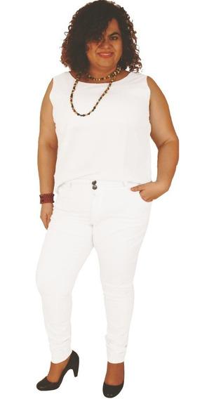 Calça Skinny Branca Strech Alice 42 Ao 60