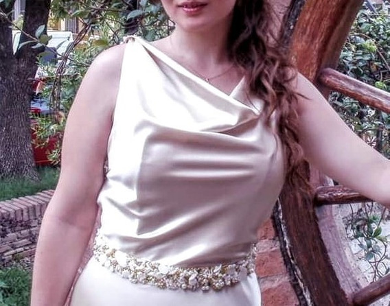 Vestido Novia/egreso Satén Bordado A Mano