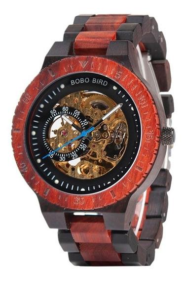 Reloj Original De Madera Sándalo Rojo Automático