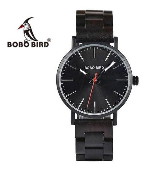 Reloj De Madera Bobo Bird Original Negro