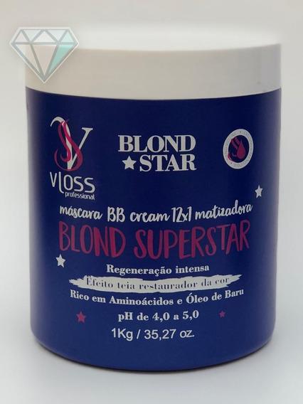 1máscara Bb Cream 12x1 Matizadora Vloss Blond Super Star 1kg
